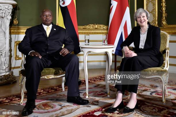 Prime Minister Theresa May meets President Yoweri Museveni of Uganda during the London Conference on Somalia at Lancaster House on May 11 2017 in...