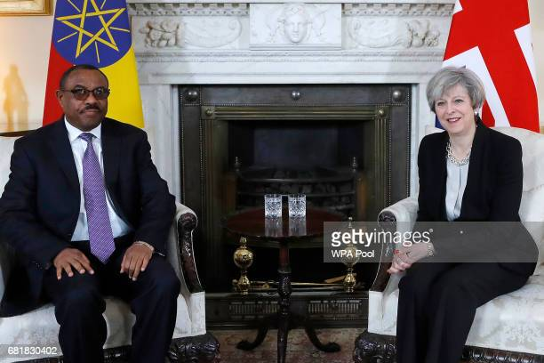 Prime Minister Theresa May meets with Ethiopian Prime Minister Hailemariam Desalegn ahead of the Somalia Conference at No 10 Downing Street on May 11...