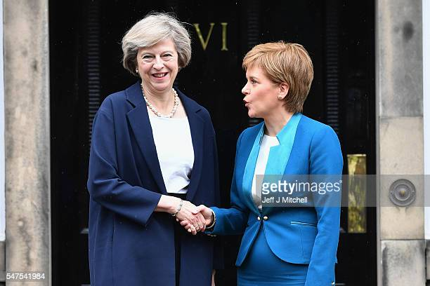 Prime Minister Theresa May meets with First Minister Nicola Sturgeon on the steps of Bute House on July 15 2016 in Edinburgh Scotland Prime Minister...
