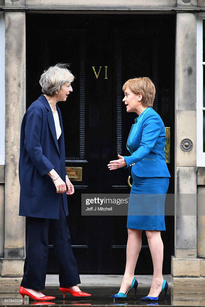 Prime Minister Theresa May meets with First Minister Nicola Sturgeon on the steps of Bute House on July 15, 2016 in Edinburgh, Scotland. Prime Minister flew in for Brexit talks with the First Minister, and is expected to express that she wants the Scottish Government to play a key role in negotiations with the EU.