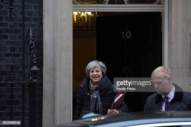 Prime Minister Theresa May smiles as she leaves Downing Street Theresa Mary May MP is the current Prime Minister of the United Kingdom and Leader of...