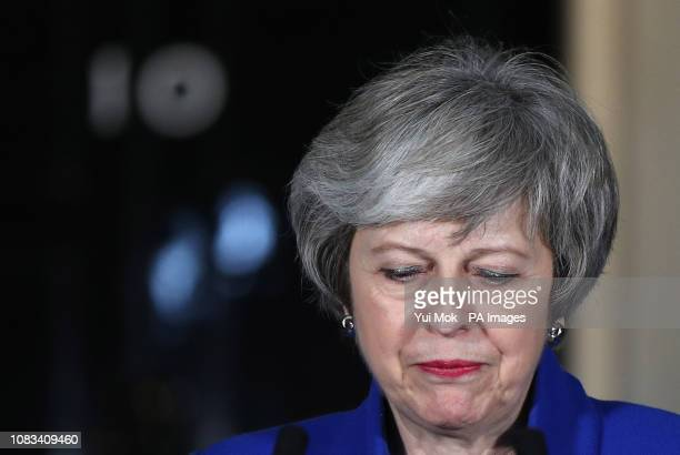 Prime Minister Theresa May speaking outside 10 Downing Street in London after MPs rejected LabourÕs motion of no confidence by 325 votes to 306
