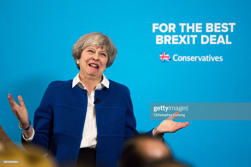Prime Minister Theresa May speaks at a campaign rally at The Grand Station on May 30, 2017 in Wolverhampton, England. Britain goes to the polls on June 8 to elect a new parliament in a general election.