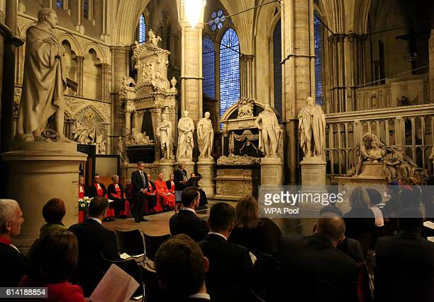 Prime Minister Theresa May speaks during a service to commemorate the work of William Wilberforce and mark the United Kingdom's commitment to combat...