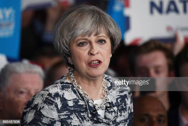 Prime Minister Theresa May speaks during her last campaign visit at the National Conference Centre on June 7 2017 in Solihull United Kingdom Britain...