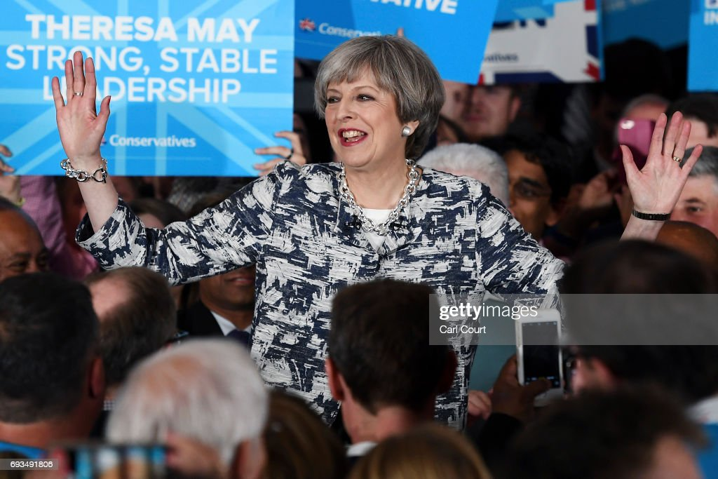 Prime Minister Theresa May speaks during her last campaign visit at the National Conference Centre on June 7, 2017 in Solihull, United Kingdom. Britain goes to the polls tomorrow to vote in a general election.