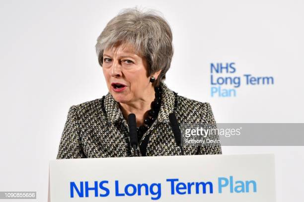Prime Minister Theresa May speaks to media as she launches the NHS Long Term Plan at Alder Hey Children's Hospital on January 07 2019 in Liverpool...