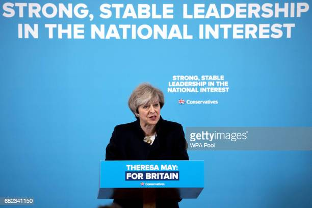 Prime Minister Theresa May speaks to party supporters as she campaigns in the North East of England during a visit to the Linskill Centre on May 12...