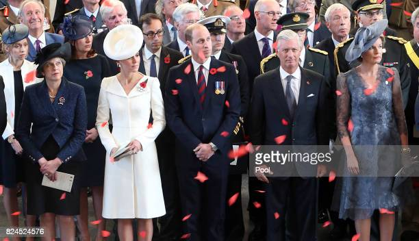 Prime Minister Theresa May the Prince William Duke of Cambridge and Catherine Duchess of Cambridge King Philippe and Queen Mathilde watch as the...