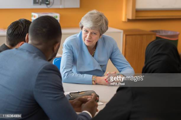 Prime Minister Theresa May visits Southfields school in south west London where she is meeting with staff and students to discuss support for the...