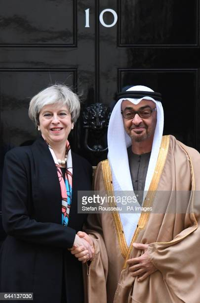 Prime Minister Theresa May welcomes His Highness Sheikh Mohamed bin Zayed Al Nahyan Crown Prince of Abu Dhabi to 10 Downing Street central London...