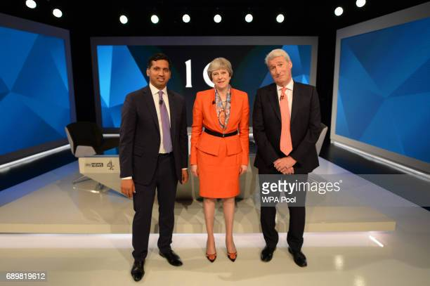 Prime Minister Theresa May with Jeremy Paxman and Sky News political editor Faisal Islam during a joint Channel 4 and Sky News general election...