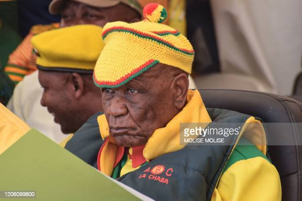 Prime Minister Thomas Thabane looks on during a rally at the Ha Abia constituency in Maseru on March 8 2020