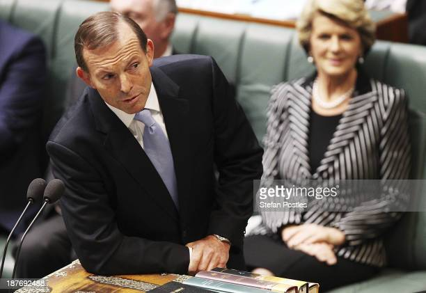 Prime Minister Tony Abbott addresses the newly elected speaker of the House of Representatives Bronwyn Bishop on November 12 2013 in Canberra...