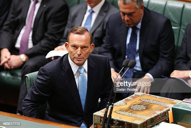 Prime Minister Tony Abbott after moving a motion on the Martin Place siege in the House of Representatives at Parliament House on February 9 2015 in...