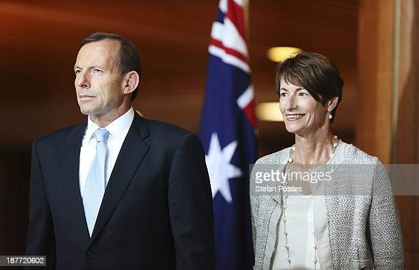 Prime Minister Tony Abbott and Margie Abbott are presented at afternoon tea at Parliament House on November 12 2013 in Canberra Australia The...