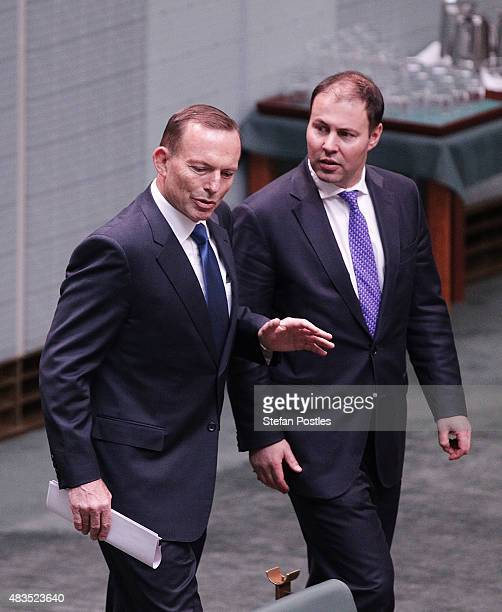 Prime Minister Tony Abbott arrives in the House of Representatives at Parliament House on August 10 2015 in Canberra Australia Bronwyn Bishop...