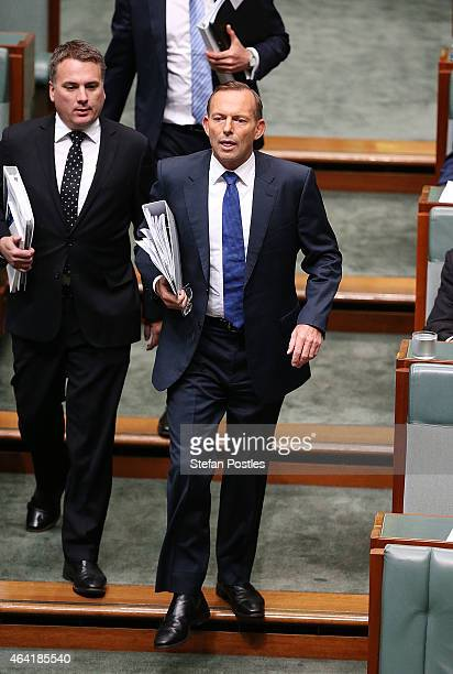 Prime Minister Tony Abbott arrives to House of Representatives question time at Parliament House on February 23 2015 in Canberra Australia
