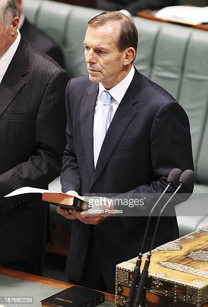 Prime Minister Tony Abbott during a swearing in ceremony in the House of Representatives chamber at Parliament House on November 12 2013 in Canberra...