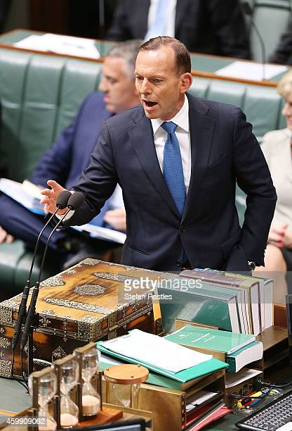 Prime Minister Tony Abbott during House of Representatives question time at Parliament House on December 4 2014 in Canberra Australia Today is the...