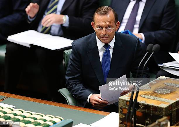 Prime Minister Tony Abbott during House of Representatives question time at Parliament House on February 23 2015 in Canberra Australia