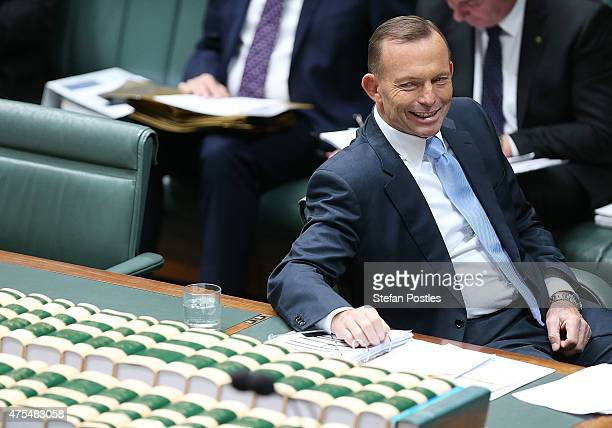 Prime Minister Tony Abbott during House of Representatives question time at Parliament House on June 1 2015 in Canberra Australia