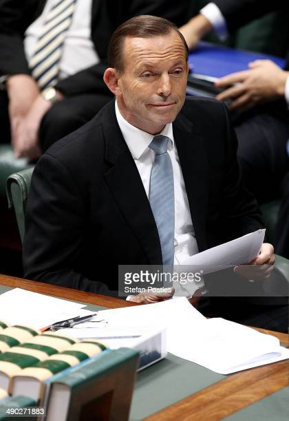 Prime Minister Tony Abbott during House of Representatives question time at Parliament House on May 14 2014 in Canberra Australia Australian...