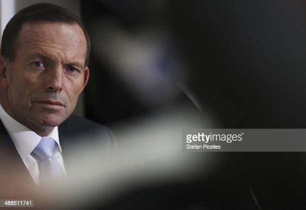 Prime Minister Tony Abbott during the official launch of the Australian Commonwealth Games Netball Team at Parliament House on May 7, 2014 in...