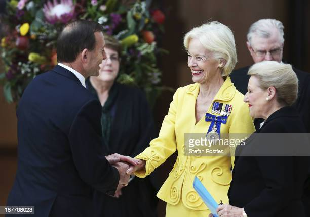 Prime Minister Tony Abbott is greeted by the GovernorGeneral of Australia Quentin Bryce prior to her address on November 12 2013 in Canberra...