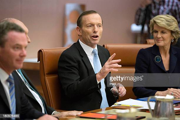 Prime Minister Tony Abbott leads the first meeting of his full Ministry in the Cabinet Room of Parliament House on September 18 2013 in Canberra...