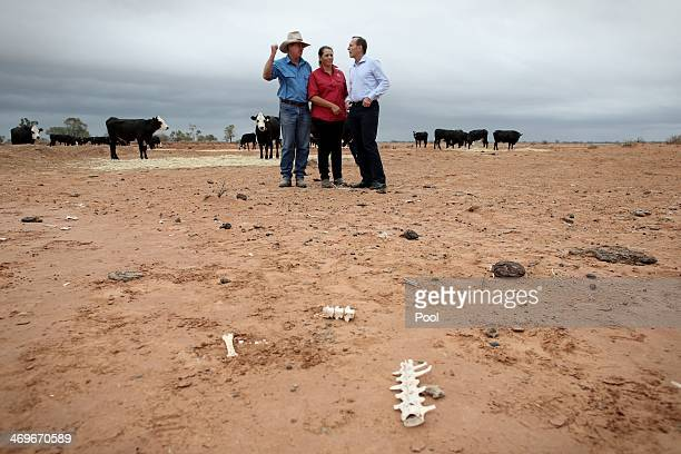 Prime Minister Tony Abbott meets graziers Phillip and Di Ridge of 'Jandra' as part of a drought tour with Agriculture minister Barnaby Joyce on...
