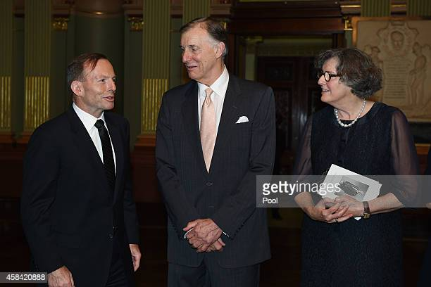 Prime Minister Tony Abbott pays his respects to Tony and Catherine Whitlam following the state memorial service for former Australian Prime Minister...