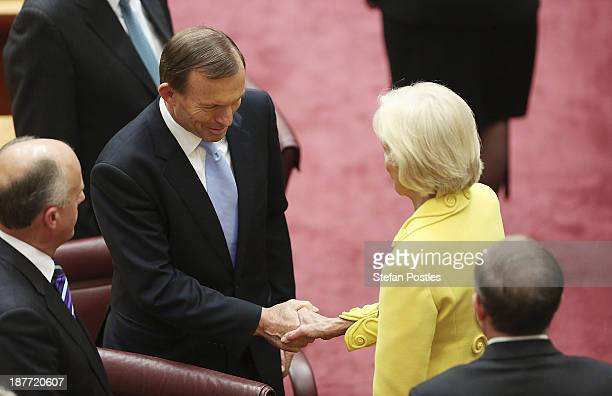 Prime Minister Tony Abbott shakes hands with the GovernorGeneral Quentin Bryce after she addressed the Senate and Representatives members on November...