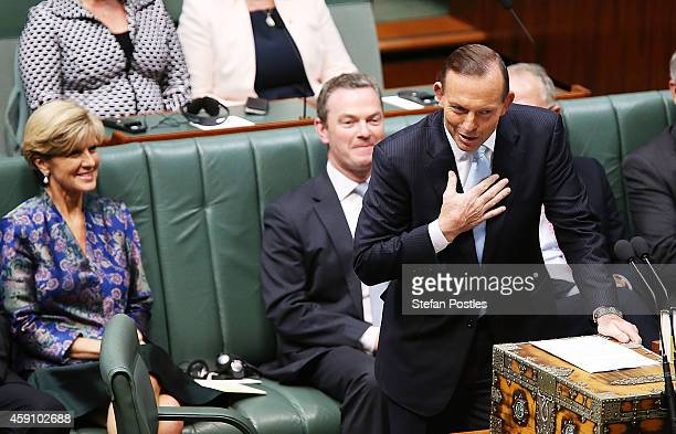 Prime Minister Tony Abbott speaks before President Xi Jinping's address to the Australian Government in the House of Representatives at Parliament...