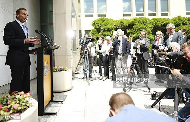 Prime Minister Tony Abbott speaks to the media during a press conference on November 12 2013 in Canberra Australia The GovernorGeneral today will...