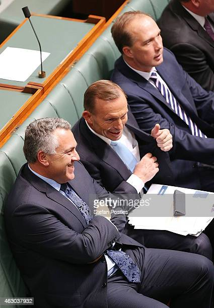 Prime Minister Tony Abbott Treasurer Joe Hockey and Minister for Immigration and Border Protection Peter Dutton during House of Representatives...