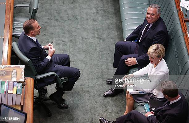Prime Minister Tony Abbott Treasurer Joe Hockey and Minister for Foreign Affairs Julie Bishop during House of Representatives question time at...