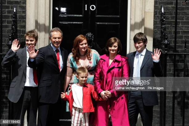 Prime Minister Tony Blair accompanied by his family Euan Leo Kathryn Cherie and Nicky pose on the steps of No10 as they leave Downing Street London...