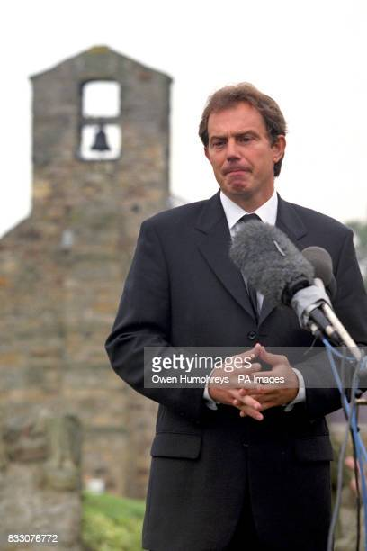Prime Minister Tony Blair addresses the nation from his home village at Trimdon near Newcastle following the news of the death of Diana Princess of...
