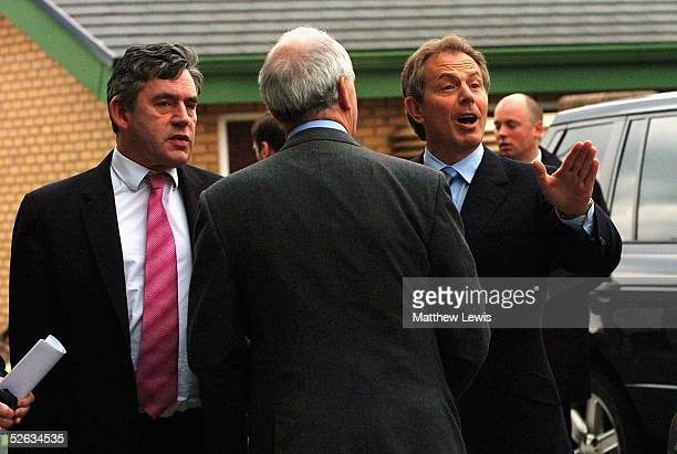 Prime Minister Tony Blair and Chancellor Gordon Brown arrive for emergency talks after a last-ditch rescue deal to save MG Rover failed, April 15,...