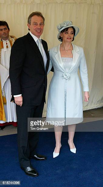 Prime Minister Tony Blair and Cherie Booth arrive for the Service of Prayer and Dedication blessing the marriage of The Prince of Wales, Prince...