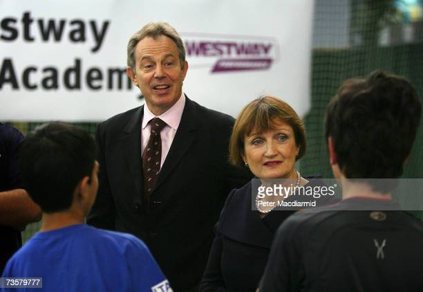 Prime Minister Tony Blair and Culture Secretary Tessa Jowell talk to youngsters at the Westway Sports Academy on March 15 2007 in London The...
