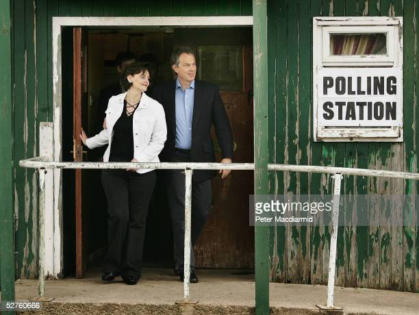 Prime Minister Tony Blair and his wife Cherie leave their local polling station after voting on May 5 2005 in Trimdon England Voting in the general...