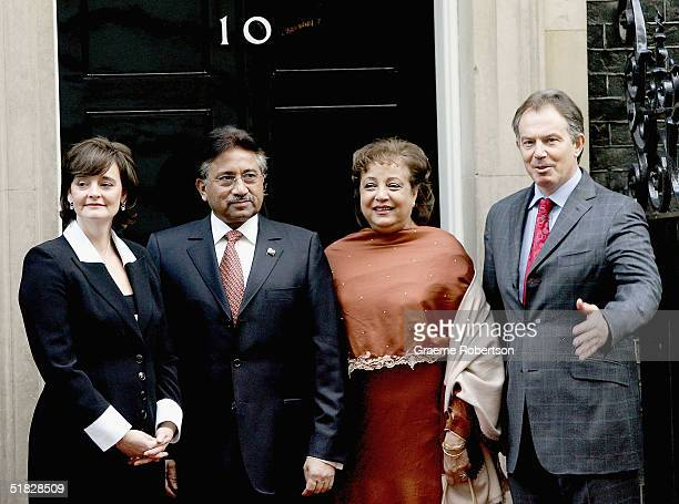 Prime Minister Tony Blair and his wife Cherie stand alongside Pakistan President Pervez Musharraf and his wife Sehba outside 10 Downing St on...