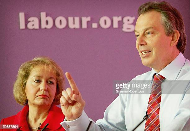 Prime Minister Tony Blair and Minister of State for Health Rosie Winterton talk to the media at a morning press conference on Health April 16 2005 in...