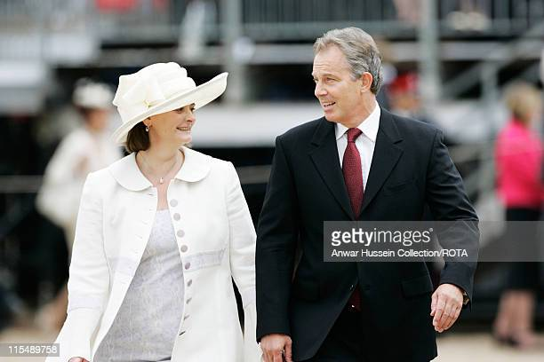 Prime Minister Tony Blair and wife Cherie attend a Falklands Veterans Parade in Horse Guards Parade to commemorate 25 years since the end of the...