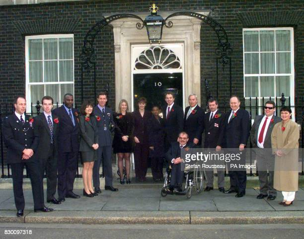 Prime Minister Tony Blair and wife Cherie meet the winners and organisers of the 1998 RADAR outside 10 Downing Street today Pictured from left to...