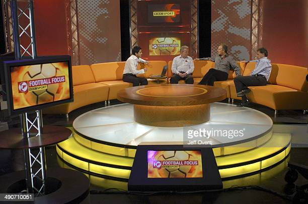 Prime Minister Tony Blair appearing on Football Focus with presenter Manish Bhasin and pundits / commentators John Motson and Mark Lawrenson