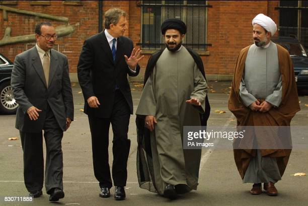 Prime Minister Tony Blair arrives at Stone Hall Kilburn London where he was greeted by senior members of the Muslim community Shiekh Fadhel Sahlani...