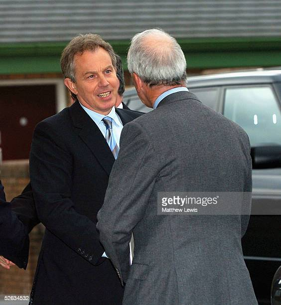 Prime Minister Tony Blair arrives for emergency talks after a last-ditch rescue deal for MG Rover failed, April 15, 2005 in Birmingham, England....
